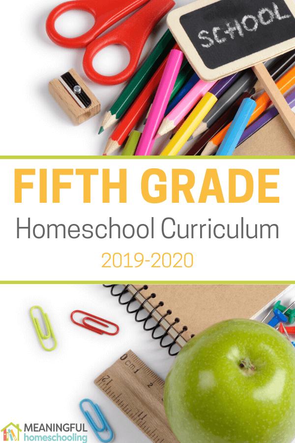 Notebook, green apple, and school supplies for fifth grade homeschool