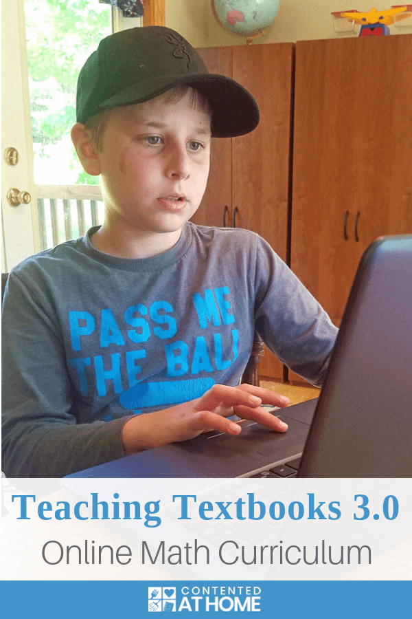 Young boy using laptop to do Teaching Textbooks 3.0 math lesson