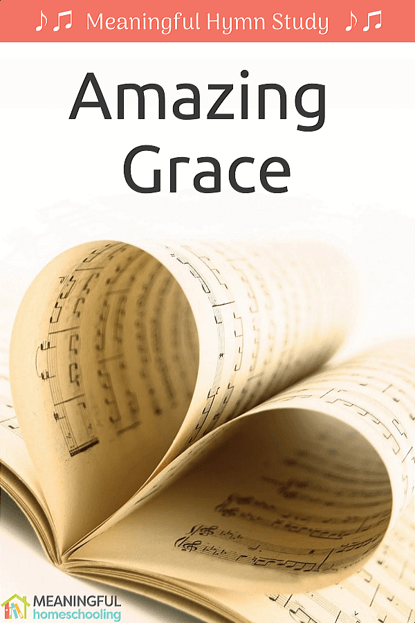 """Music pages folded to make a heart; text overlay that says """"Amazing Grace"""""""