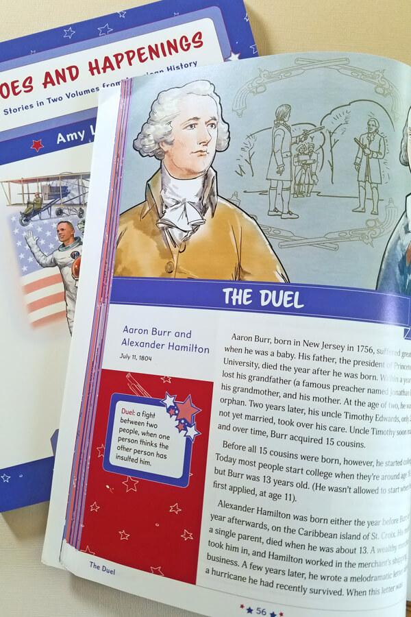 Kindergarten history book open to story of the duel between Aaron Burr and Alexander Hamilton