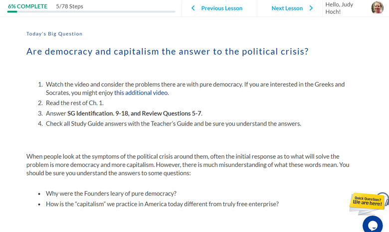 Screenshot of online government course questions