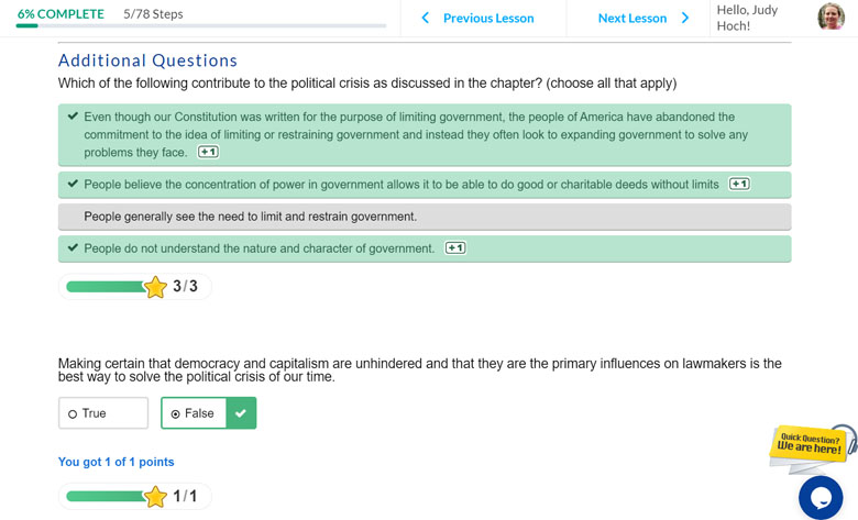 Screenshot of review questions in online American government course