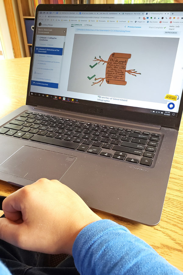 Laptop with screen showing online U.S. government course