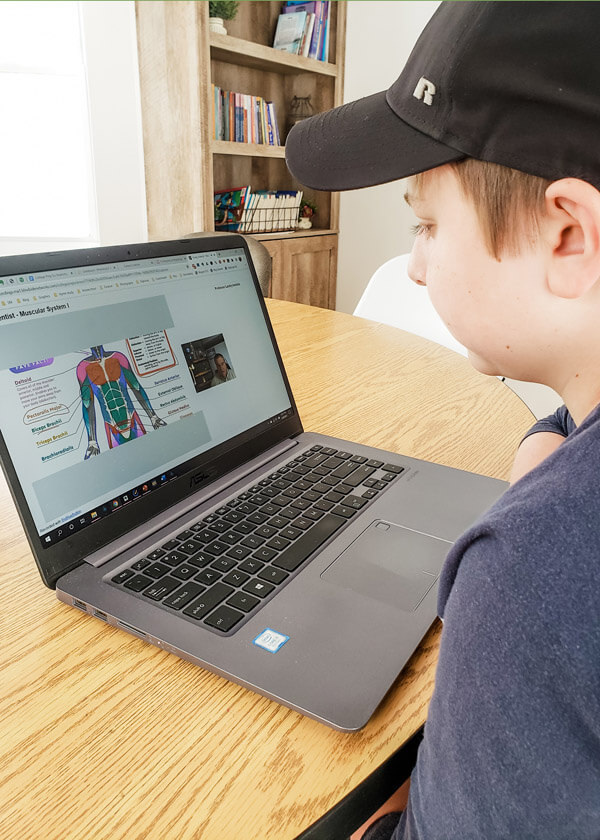 Middle school boy watching anatomy and physiology lesson on laptop