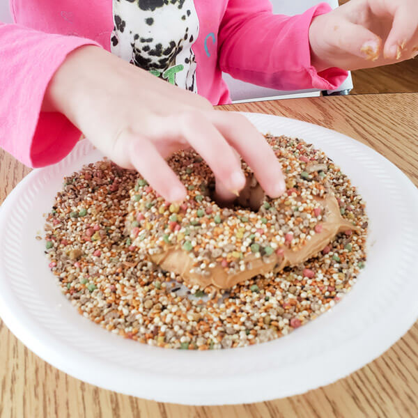 Little girl's hand rolling peanut butter-covered bagel in bird seed to make a bird feeder