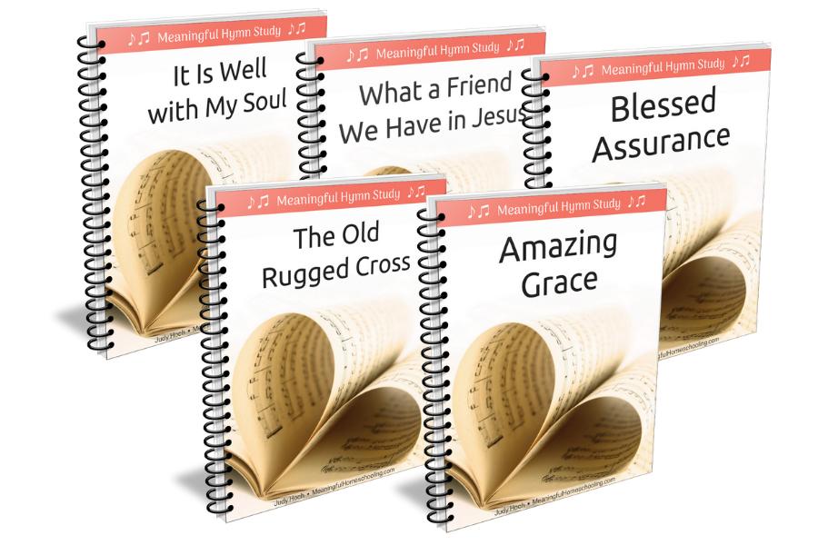 Five spiral-bound hymn study units