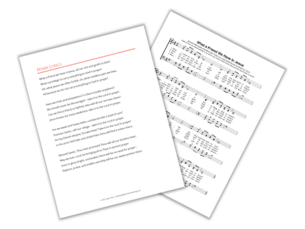 Printable pages of hymn lyrics and sheet music