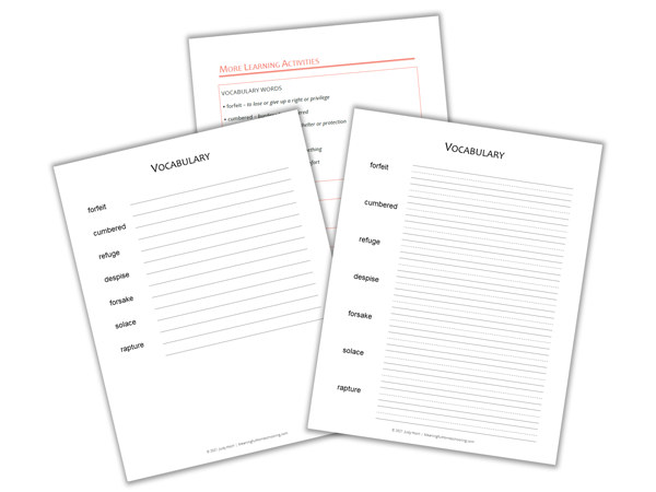 Printable vocabulary study pages