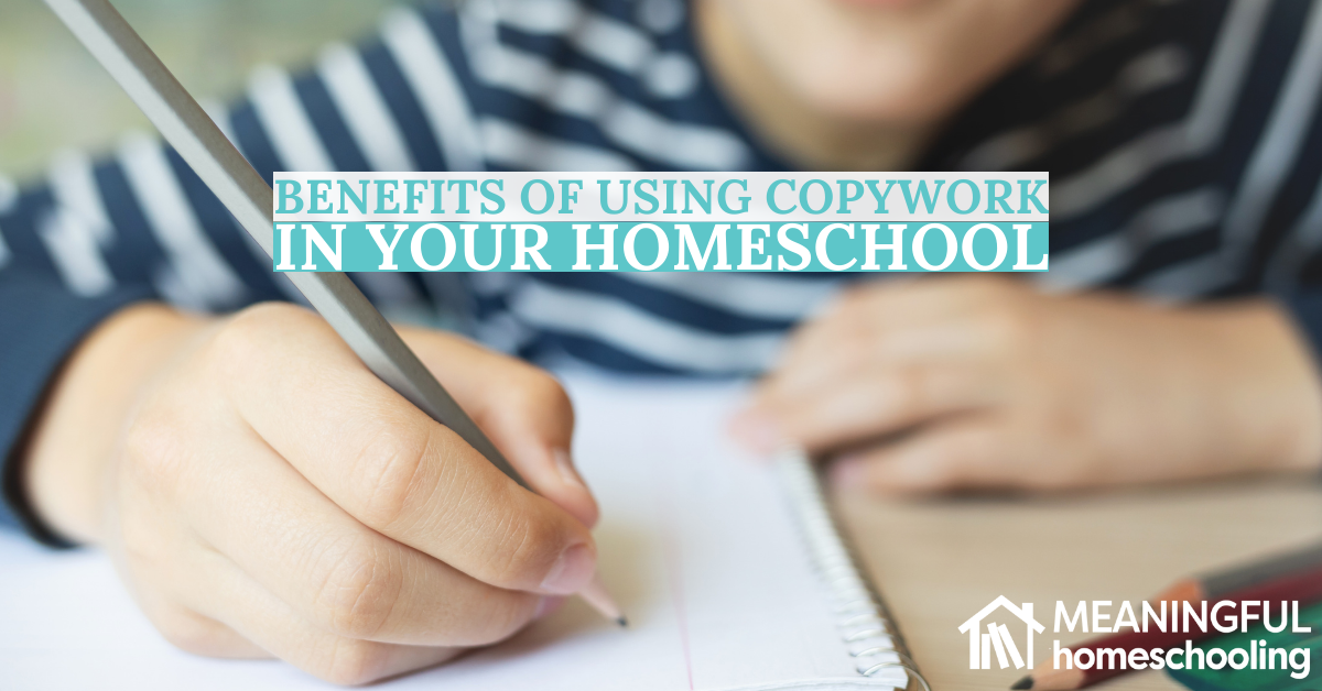 Child writing on paper to show benefits of using copywork in your homeschool.