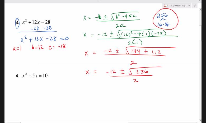 Screenshot of Mr. D Math Algebra 1 problem being solved on screen