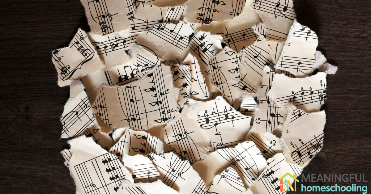 Ripped up pieces of music sheets.