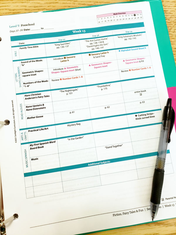 Closeup view of a page of Sonlight Preschool Instructor Guide in a teal binder
