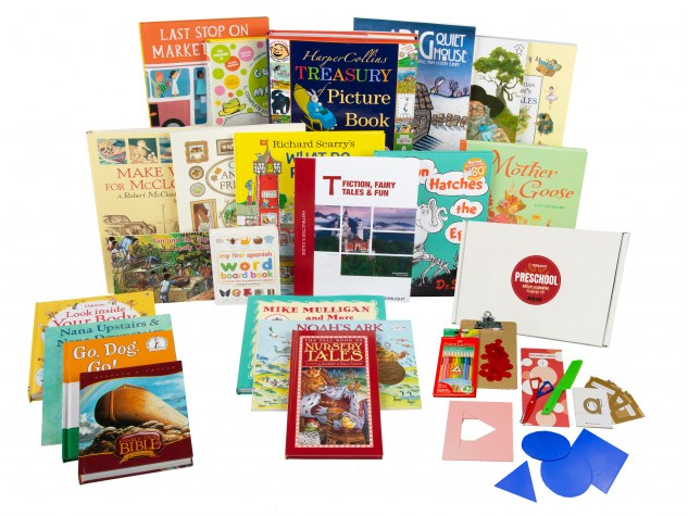 Many classic children's books from Sonlight Preschool curriculum displayed on white background