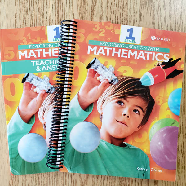Brightly colored math workbook and teacher guide lying on table