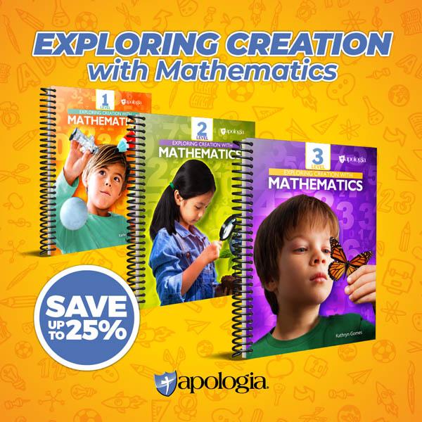 Three Apologia math workbooks displayed on an orange background