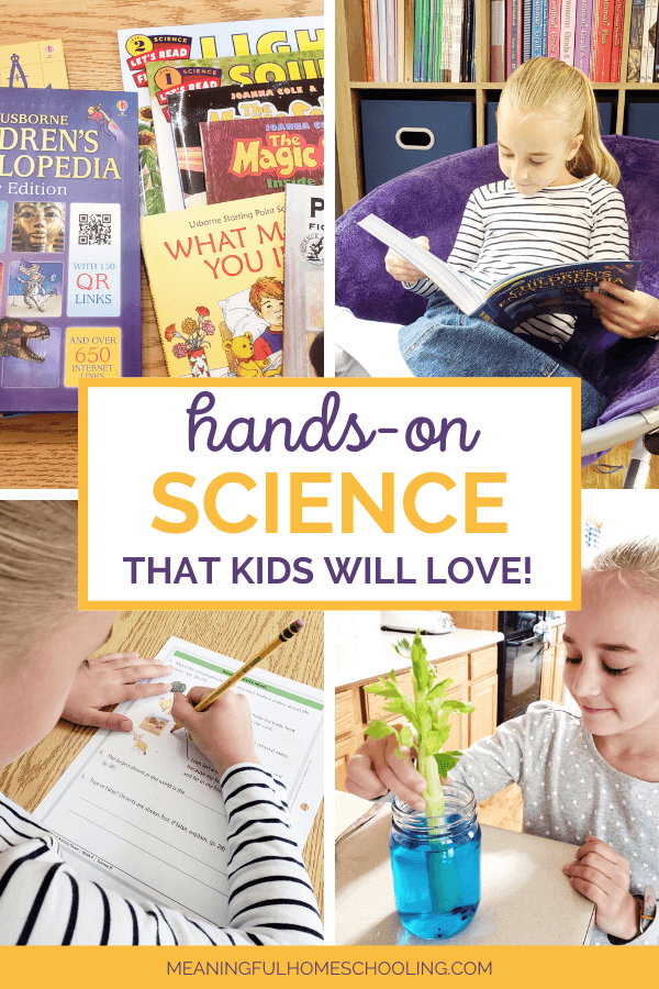 Pictures of young girl reading living science books and doing hands-on science activities