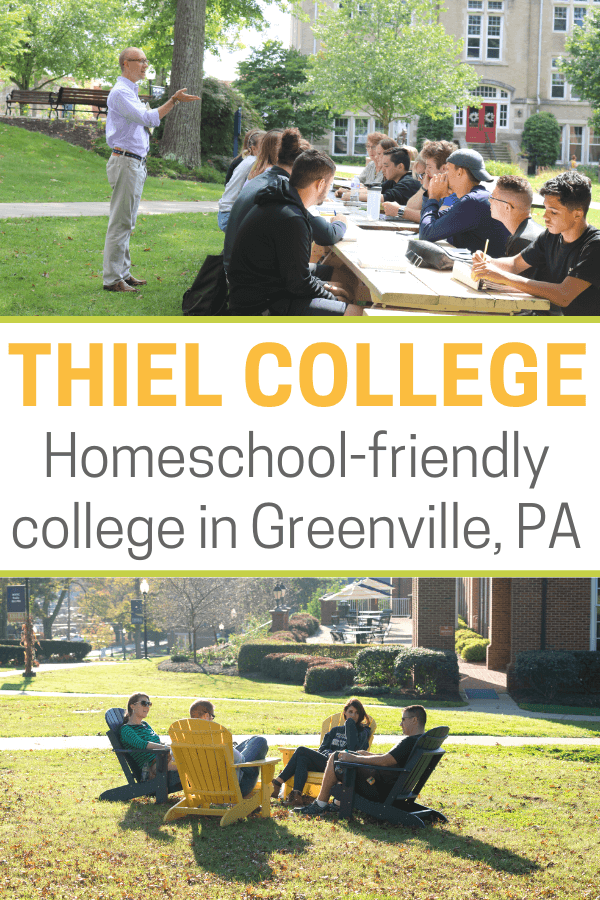 Thiel College students sitting outside at picnic table during a college class